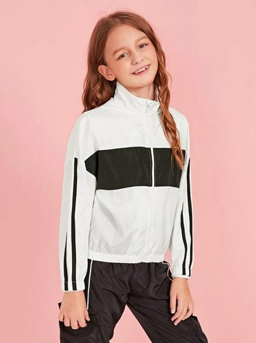 Girls Striped Sleeve Two Tone Windbreaker Jacket