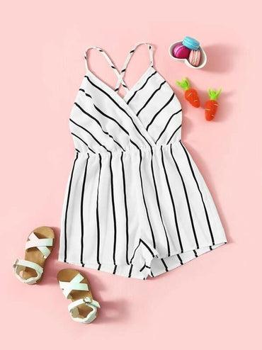 Girls Surplice Neck Crisscross Striped Cami Playsuit