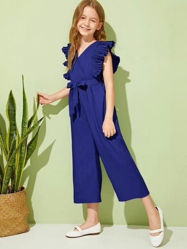 Girls Surplice Neck Pleated Ruffle Armhole Wide Leg Jumpsuit