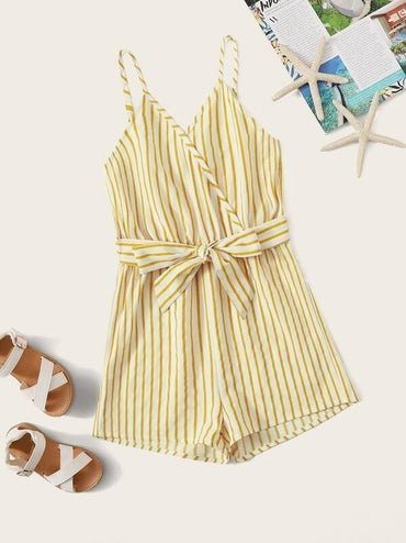 Girls Surplice Neck Self Belted Striped Cami Romper