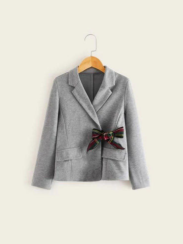 Girls Tartan Tie Front Notched Collar Blazer