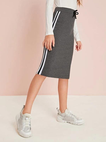 Girls Tie Waist Striped Side Rib-Knit Skirt