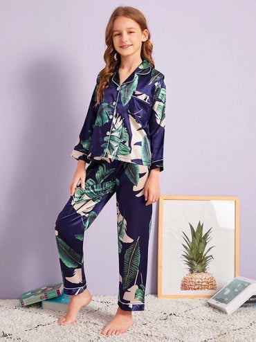 Girls Tropical Print Satin Pajama Set