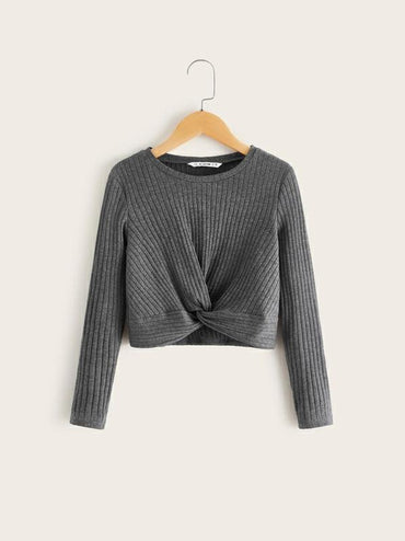 Girls Twist Hem Rib-Knit Top
