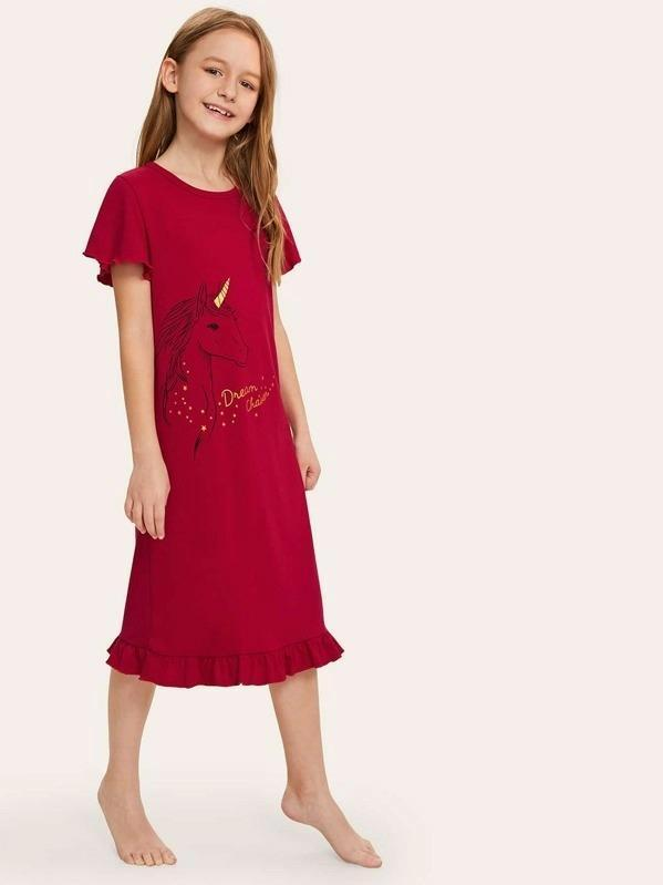Girls Unicorn Graphic Ruffle Hem Night Dress