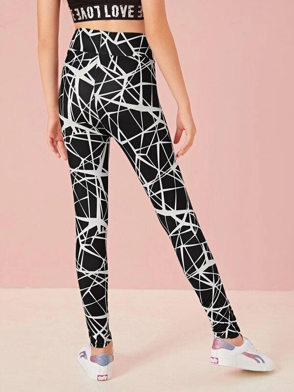Girls Wide Band Waist Geo Print Leggings