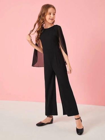 Girls Wide Leg Cape Jumpsuit