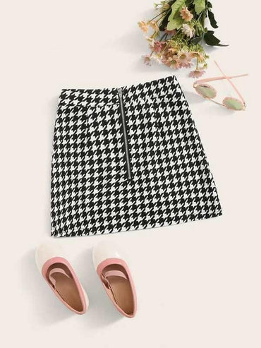 Girls Zip Front Houndstooth Skirt
