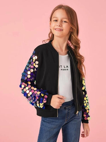 Girls Zip Up Sequin Sleeve Bomber Jacket