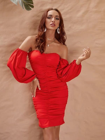 Women Glamaker Bishop Sleeve Ruched Bardot Dress
