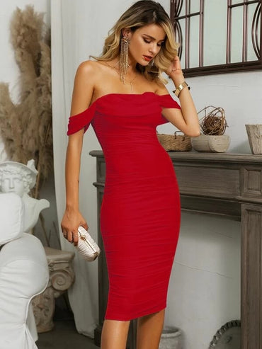 Women Glamaker Off Shoulder Ruched Bodycon Dress