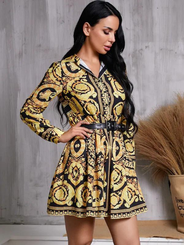 Glamaker Scarf Print Shirt Dress Without Belt