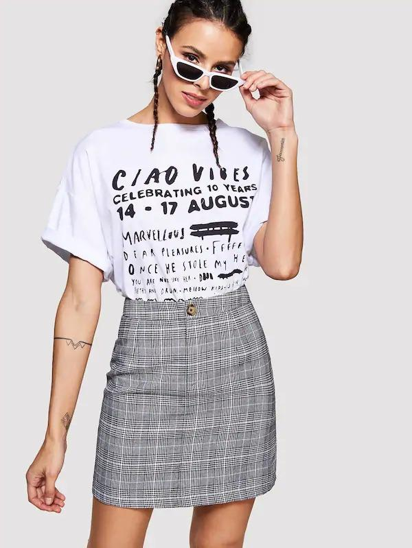 Glen Plaid Button Skirt