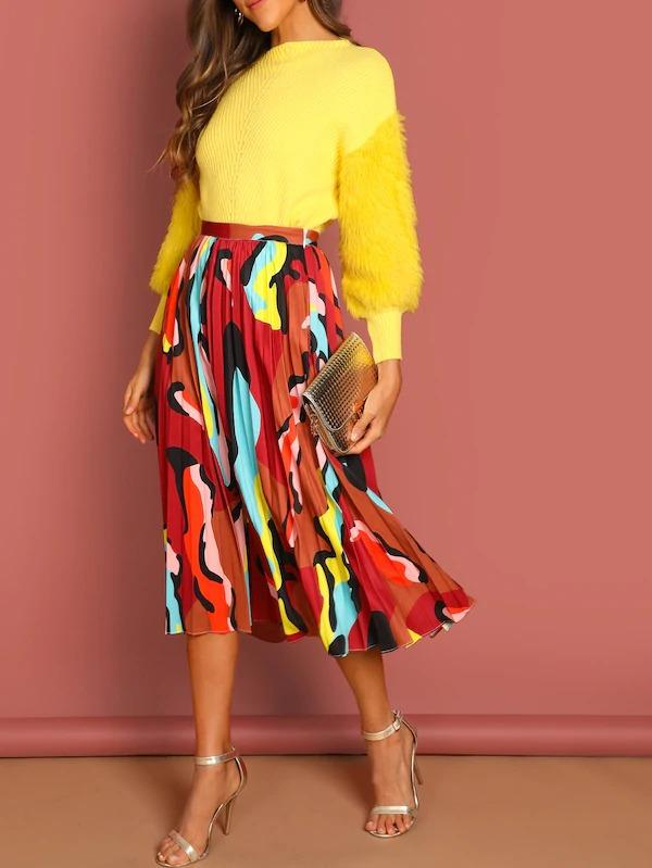 Graphic Print Pleated Skirt