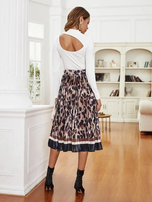 Women Graphic Color-Block Pleated Skirt