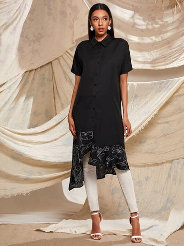 Women Graphic Print Asymmetric Hem Shirt Dress
