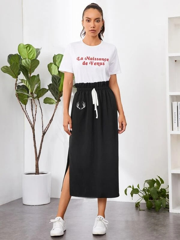 Women Graphic Print Knotted Paperbag Waist Skirt