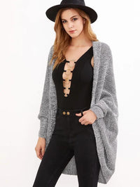 Grey Marled Shawl Collar Open Front Cocoon Cardigan
