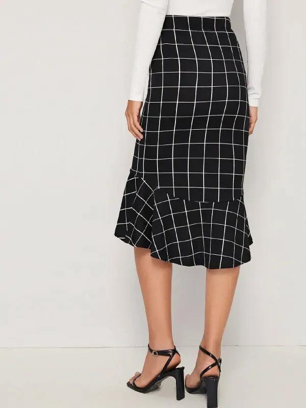 Grid Asymmetrical Ruffle Hem Skirt