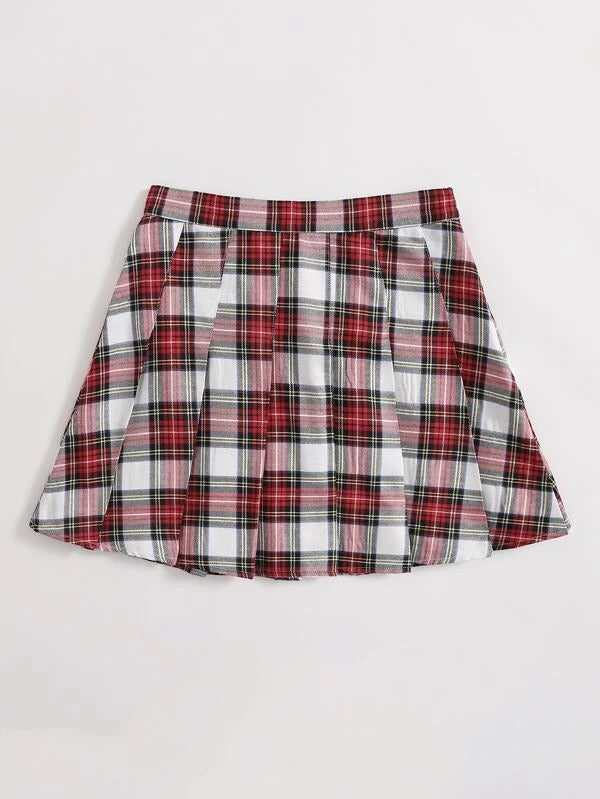 Women Grid Pleated Skirt