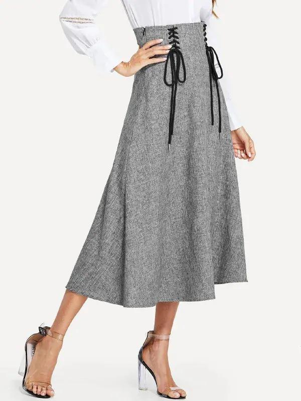 Grommet Lace-Up Front Skirt