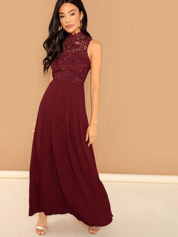 Guipure Lace Bodice Sleeveless Solid Maxi Dress