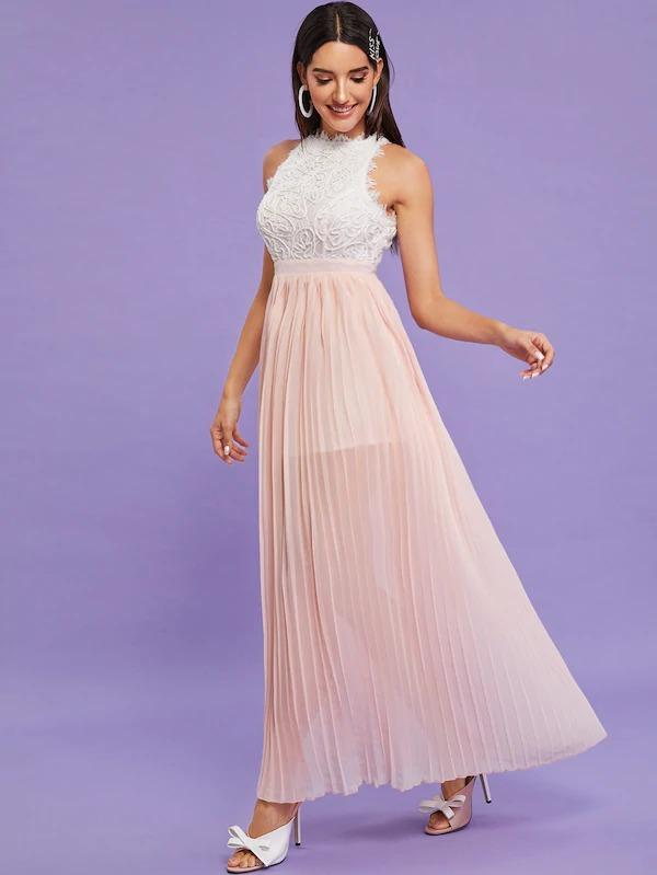 Guipure Lace Panel Pleated Hem Formal Dress