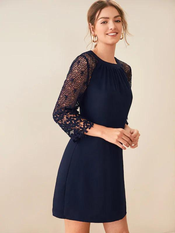 Guipure Lace Raglan Sleeve Tunic Dress