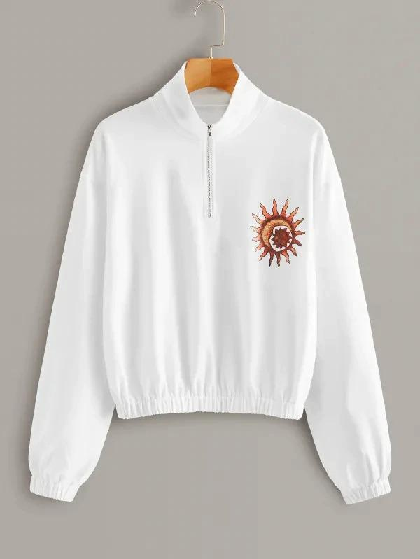 Half Placket Abstract Sun Print Sweatshirt