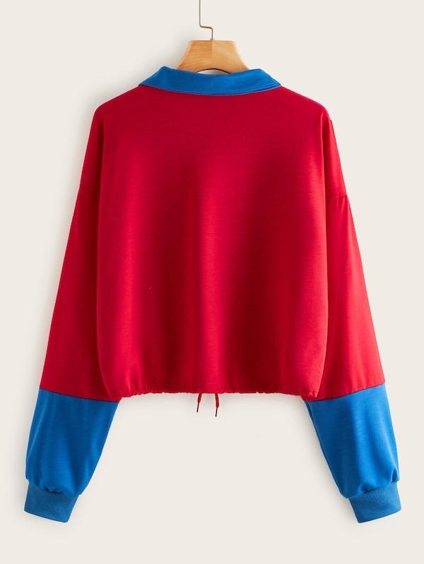Half Placket Colorblock Drawstring Hem Sweatshirt