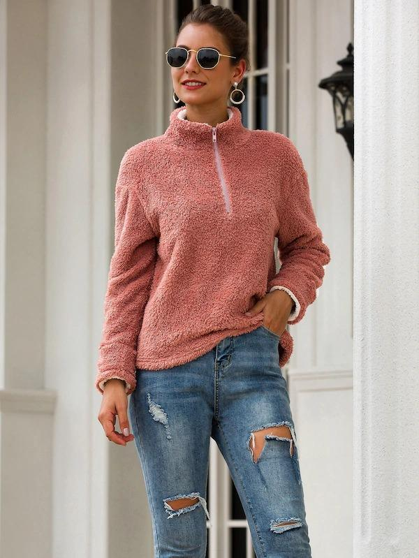 Half Zip Drop Shoulder Teddy Sweatshirt