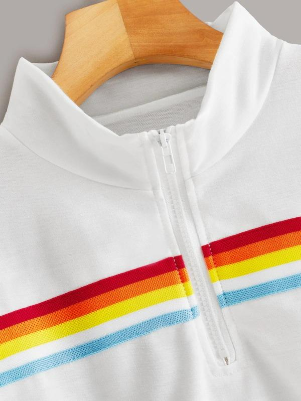 Half Zipper Rainbow Striped Sweatshirt