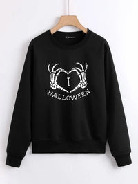 Women Halloween Letter & Skeleton Hand Print Sweatshirt