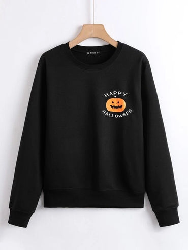 Women Halloween Pumpkin & Slogan Graphic Sweatshirt