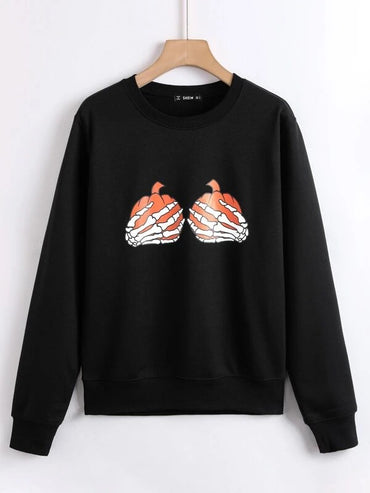 Women Halloween Skeleton Hand & Pumpkin Print Sweatshirt