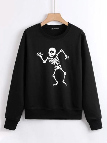 Women Halloween Skeleton Print Sweatshirt