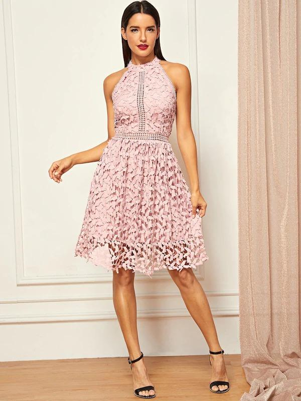 Halter Neck Guipure Lace Flared Dress