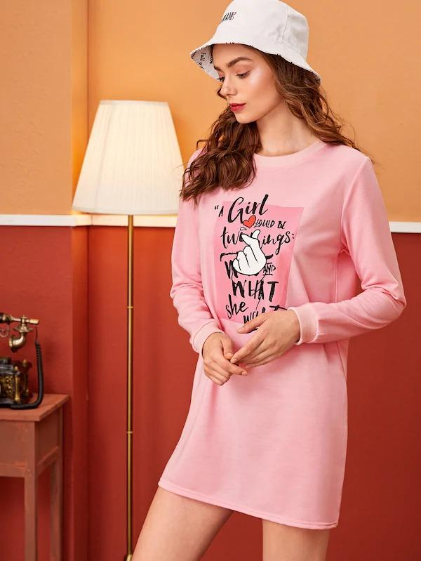 Heart And Letter Print Sweatshirt Dress