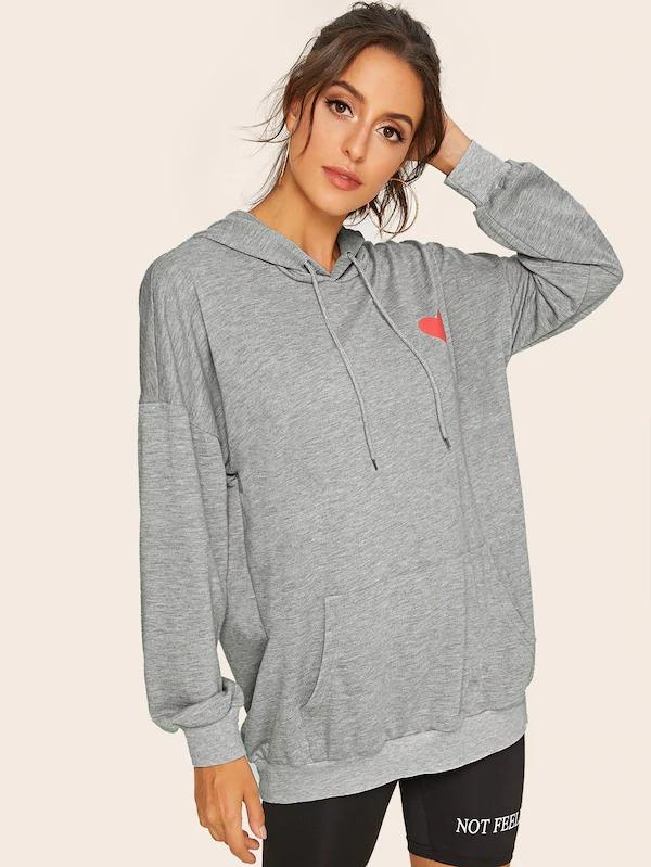 Heart Print Kangaroo Pocket Drawstring Hooded Sweatshirt