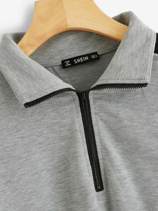 Heather Grey Panel Colorblock Letter Sweatshirt