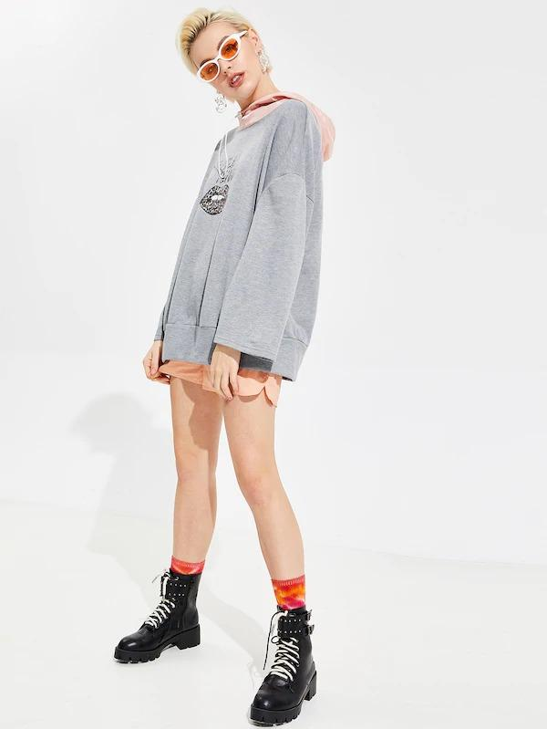 Heather Knit Graphic Boxy Pullover With Contrast Hood