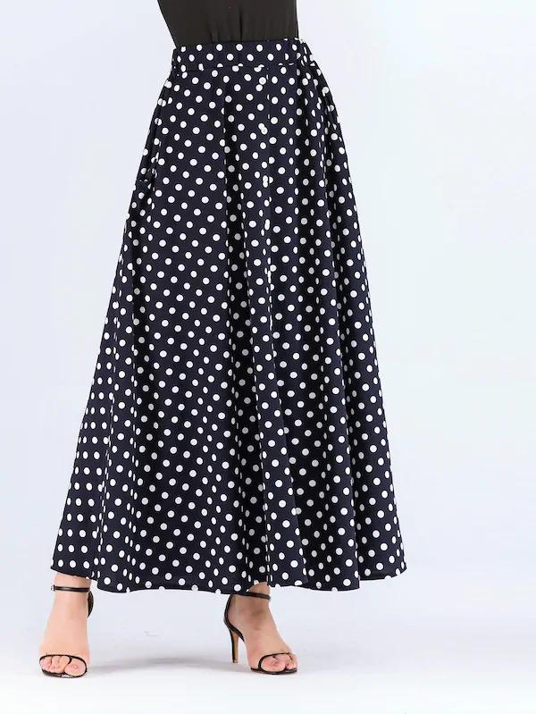 Hidden Pocket Dot Print Skirt