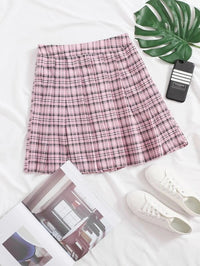 Women Hidden Zipper Plaid Skirt