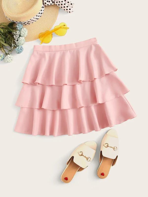 High Waist Layered Ruffle Hem Skirt