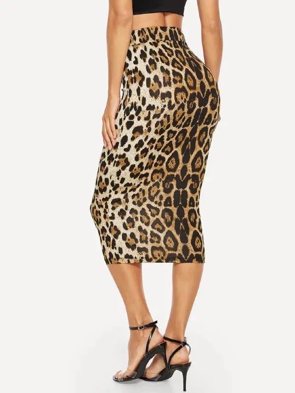 High Waist Leopard Bodycon Skirt
