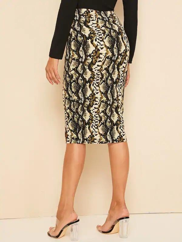 High Waist Snakeskin Print Pencil Skirt