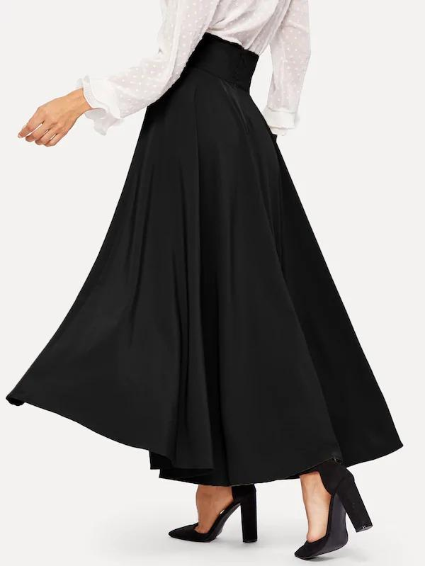 High Waist Zip Back Knot Swing Skirt