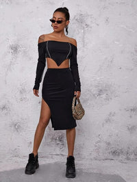 Women High Split Side Rib-knit Skirt