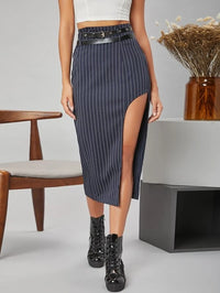 Women High Split Side Striped Skirt With PU Leather Buckle Belt