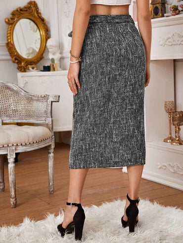 Women High Waist Belted Tweed Wrap Skirt